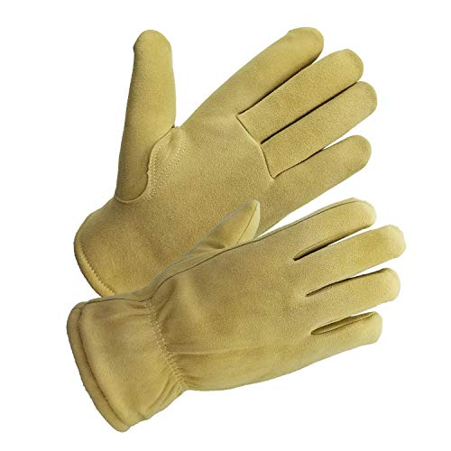 SKYDEER -20°F Cold-proof Winter Work Gloves with Super Warm and Windproof Deerskin Leather Suede for Winter Casual and Winter Work (Medium, Sand for Women and Men)