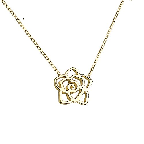 Sinya Sterling Silver with 18kt Yellow Gold Plating Filigree Rose Flower Collar Necklaces for Women and Girls