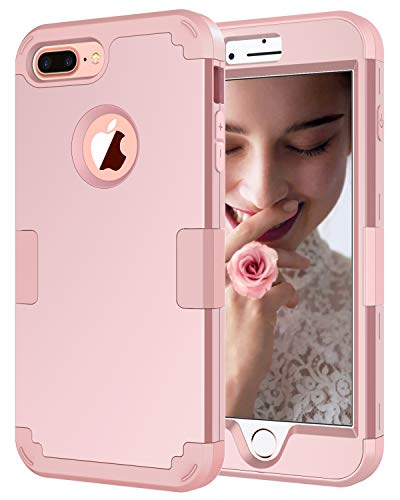 (Petocase Compatible iPhone 8 Plus Case, Heavy Duty Slim Shockproof Drop Protection 3 in 1 Hybrid Hard PC Covers Soft Rubber Bumper Protective Case for iPhone 8 Plus / 7 Plus - Rose Gold)