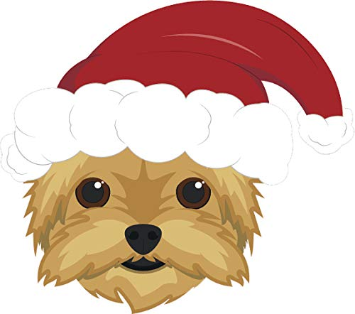 Simple Cute Holiday Christmas Theme Pure Breed Puppy Dog Cartoon Emoji Vinyl Sticker, Cairn Terrier