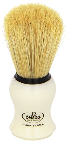 Omega #10066 Shaving Brush Mock Ivory Handle Boar Shaving Brush