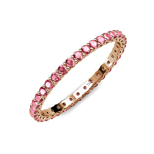 Gallery Tourmaline Pink - TriJewels Pink Tourmaline 2mm Gallery Womens Eternity Band 0.57 to 0.68 ctw 14K Rose Gold.size 5.25