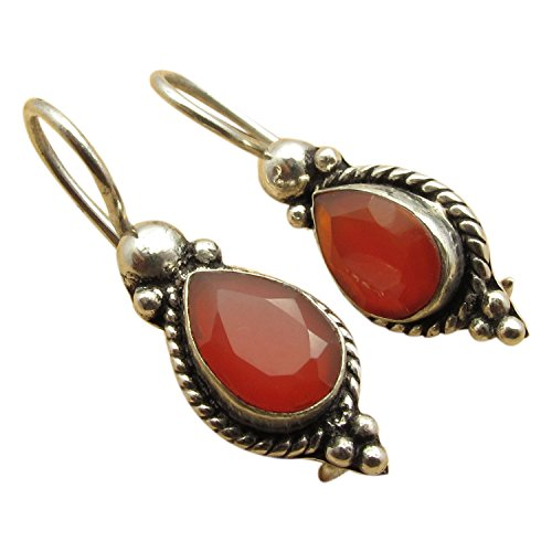 Red Carnelian Earrings (925 Silver Plated Red CARNELIAN SEMI PRECIOUS GEMSTONE Handwork Earrings BIJOUX)