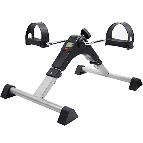 (Hausse Folding Exercise Peddler Portable Pedal Exerciser with Electronic Display, Black)