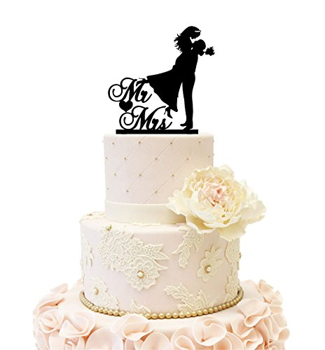 Wedding Anniverary Mr Mrs Groom Holding Bride Cake Topper (Mr & Mrs)
