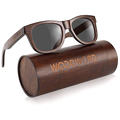 Polarized Wood Sunglasses for Men Women - Bamboo Wood Sunglasses with Wood Case (Black)