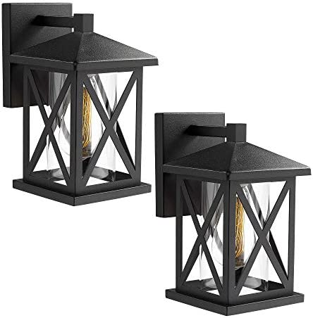 JAZAVA Outdoor Wall-Mount Light Fixtures 2-Pack Industrial Exterior House Porch Lights Wall Sconce Lantern