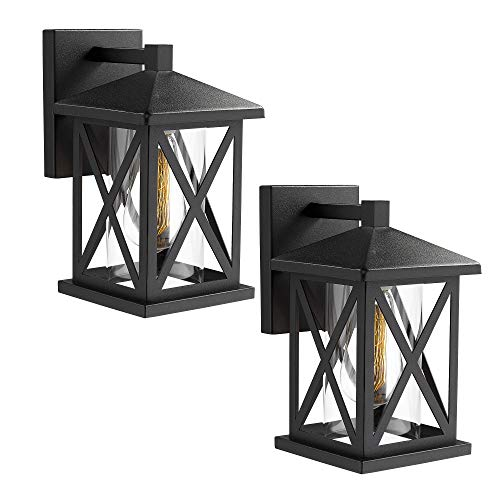 Jazava Outdoor Wall Mount Light 2 Pack, Industrial Exterior Wall Lantern Sconce, 10.3 inches Height, Matte Black Finish with Clear Glass, Small