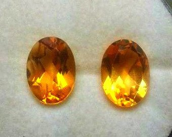 Citrine Parcel (2 Brilliant Oval Cut AAA Natural Citrine Gemsone Parcel for Wire Wrapping or Jewelry.)