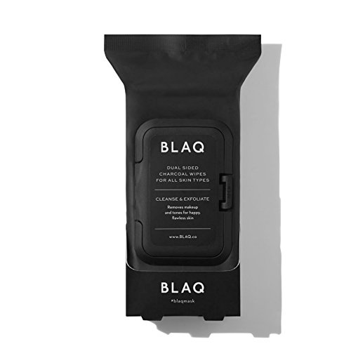 Activated Charcoal Wipes by BLAQ - Dual Sided Blackhead and Makeup Remover, Exfoliating, Cleansing and Detoxifying Skin - 25 Wipes (Best Face Wipes For Blackheads)