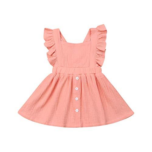 Toddler Baby Girl Infant Comfy Cotton Linen Lace Princess Overall Dress Sundress (R-Dress 2(Pink), 12-18 Months)