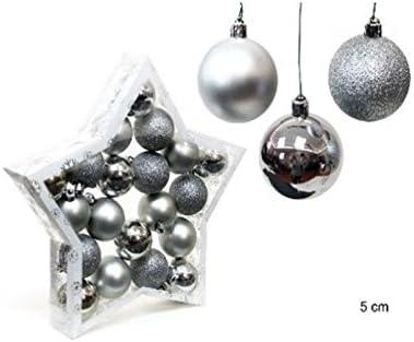 Pack 20 bolas Navidad Plata 5cm: Amazon.es: Hogar