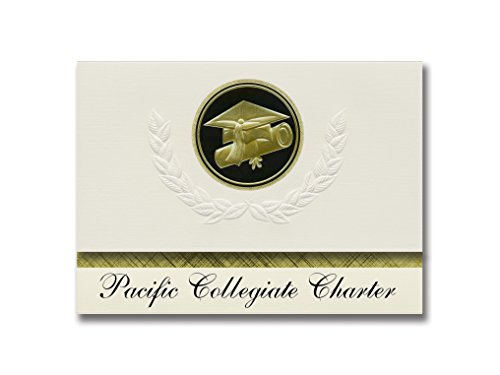 Signature Announcements Pacific Collegiate Charter (Santa Cruz, CA) Graduation Announcements, Presidential style, Elite package of 25 Cap & Diploma Seal. Black & -