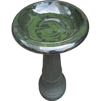 Elegant Tierra Garden 4 8181 Fiber Clay Bird Bath With Gloss Bowl, 25 Inch