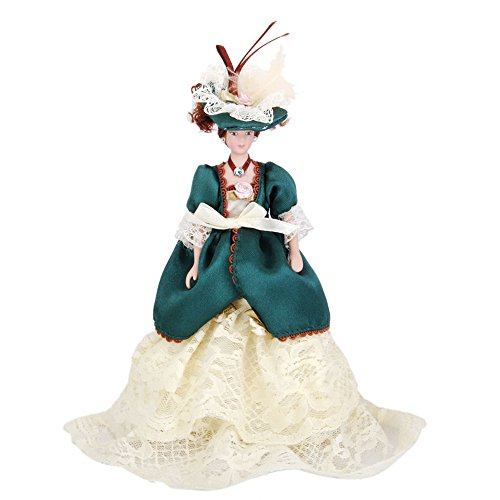 (dreamflyingtech Porcelain Dolls Victorian Lady in Green Dress & Hat Dollhouse Miniature 1:12 Scale Display Stand Gifts Presents Toys)