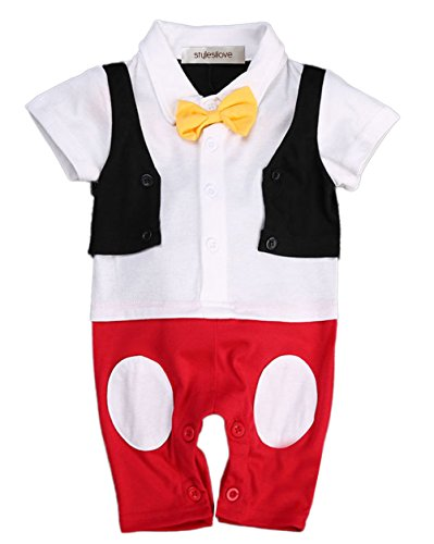 stylesilove.com Baby Boy Bowtie Cartoon Photo Prop Romper Onesie (100/18-24 Months) White]()