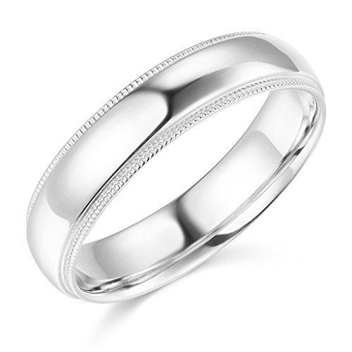 14k White Gold 5mm SOLID COMFORT FIT Plain Milgrain Wedding Band - Size 7