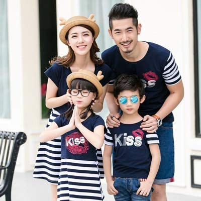 cc0f9c548f69 2018 Summer mom and Daughter Dress Matching Mother Daughter Clothes Dresses  Outfits Father and Son Clothes t-Shirts Family Look   Blue