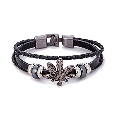 ZUOZUO Leather Wristband Unisex Bracelet Black Cord Hand Leather Friendship Wrist Strap Weed Estimated Price £16.99 -