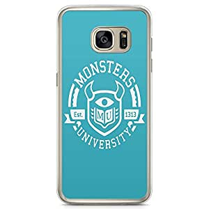 Loud Universe Monster University Logo Samsung S7 Case Blue Monsters Inc Movie Samsung S7 Cover with Transparent Edges