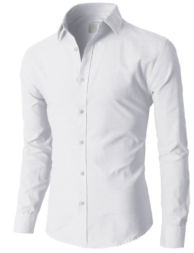 H2h mens oxford cotton slim fit dress button down shirts Buy white dress shirt