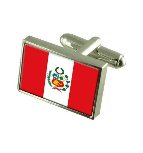 Pérou Boutons de manchette drapeau avec select pochette cadeaux