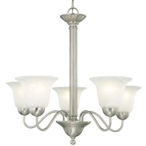 143 Inch Light - Thomas Lighting SL8811-78 Riva Five-Light Chandelier Brushed Nickel Finish with Etched Alabaster Style Glass