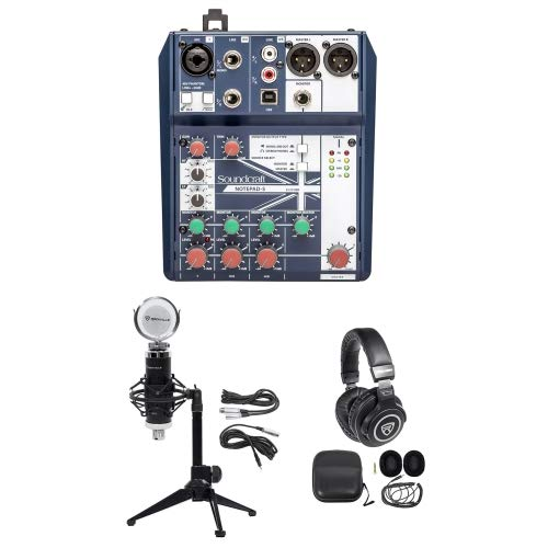 Gaming Twitch Stream Recording Bundle Soundcraft Mixer+Headphones+Mic+Desk Stand