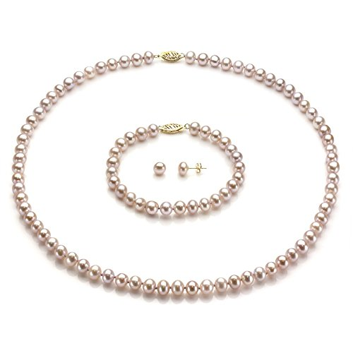 14k-Yellow-Gold-6-65mm-Freshwater-Cultured-Pearl-Necklace-18-7-Bracelet-and-Stud-Earrings-Set