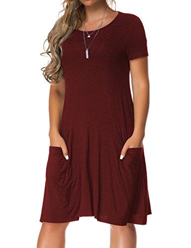 Burgundy Pocket Tee (VERABENDI Women's Short Sleeve Dress Casual Loose Pocket T-Shirt Dress Burgundy M)