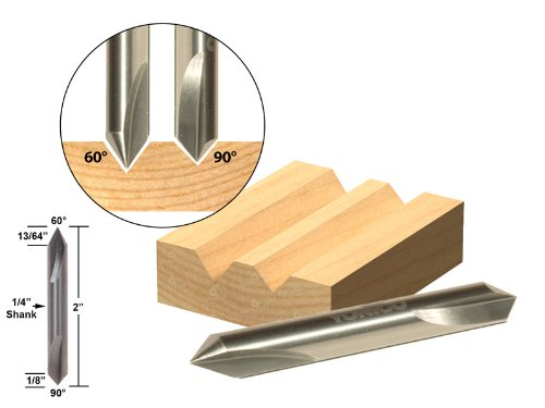 Yonico 14103q 60-Degree/90-Degree V-Groove Double Ended Solid Carbide Router Bit 1/4-Inch Shank