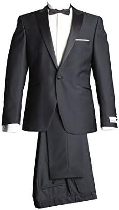 Wilvorst Anzug Smoking Sakko Smoking Hose ohne Bundfalte Schwarz Drop8 Extra Schmal Tailliert Geschnitten Runder Schalkragen 63% Wolle 26% Polyester 7% Polyamid 4% Elasthan 270g