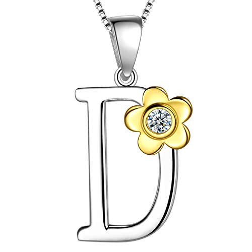 Letter D Daisy Flower Necklace 925 Sterling Silver 18k Gold Plated Charm Alphabet Pendant Two-Tone Gold Plated Jewelry DP0141D ()