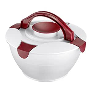 Salad Bowl / Butler, 220 Oz, with Salad Dressing Container, Red / White