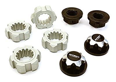 Integy Hobby RC Model C27149BLACK Billet Machined 24mm Wheel Adapters & 17mm Wheel Nuts for Traxxas X-Maxx 4X4