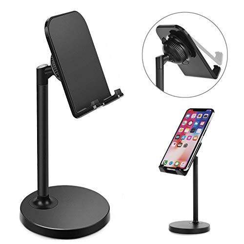 CreaDream Cell Phone Stand, Adjustable iPhone Stand, Cradle, Holder for Desk Compatible with iPhone 11 Pro Max Xs Xr 8 7 6 6s Plus 5s Charging, Accessories Desk, Android Phone-Black