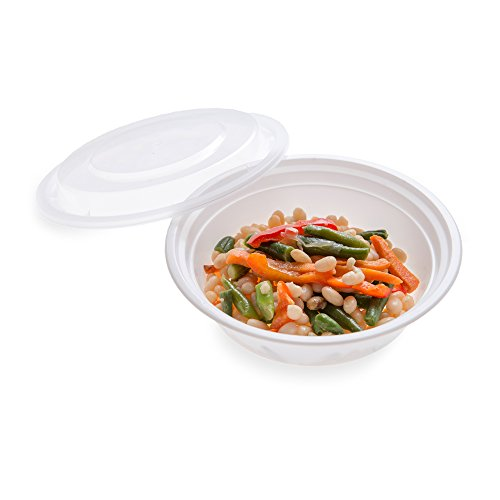16-OZ Asporto Microwavable To-Go Container - PP White Round Food Container with Clear Plastic Lid: Perfect for Catering Events and Restaurant Takeout – Disposable and Eco-Friendly – 100-CT
