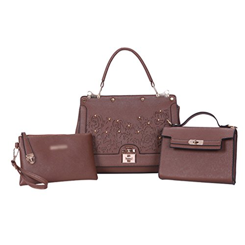 Cuir Femme sac main Mode Sac Sac bandoulière Marron sac à à 2 Pu 3pcs sac Anguang qp5IRwA