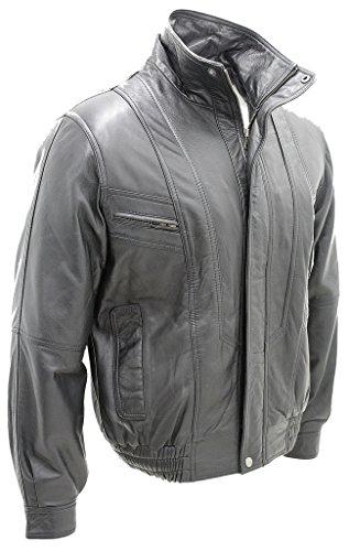 Cuir noir classique pour hommes Harrington veste coupe ajustée