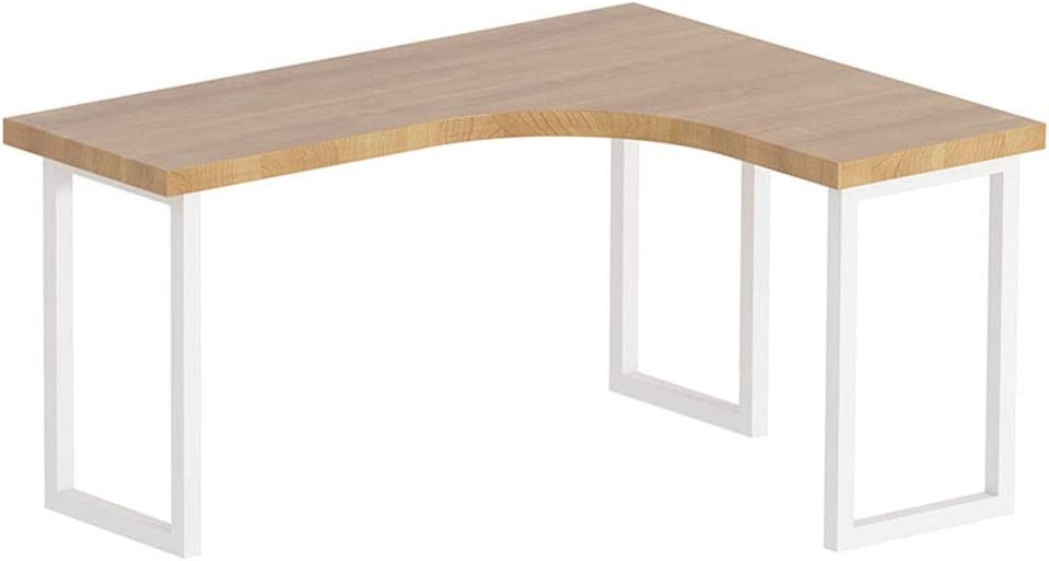 パソコンデスク ホームオフィスのための現代シンプルな大型L字型コーナー木材と金属ライティングパソコンデスク (Color : Natural, Size : 180x120x75cm)