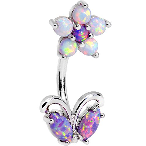 Body Candy Stainless Steel Iridescent Purple White Accent Flourishing Flower Double Mount Belly Ring