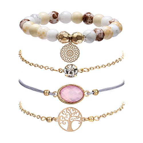 (VONRU Boho Bracelet Set - Stackable Beaded Bracelets Set for Teen Girls Gift for Girlfriend Bohemian Bracelets Stretch Charm Holiday Bracelet (Pink Stone Bracelet))