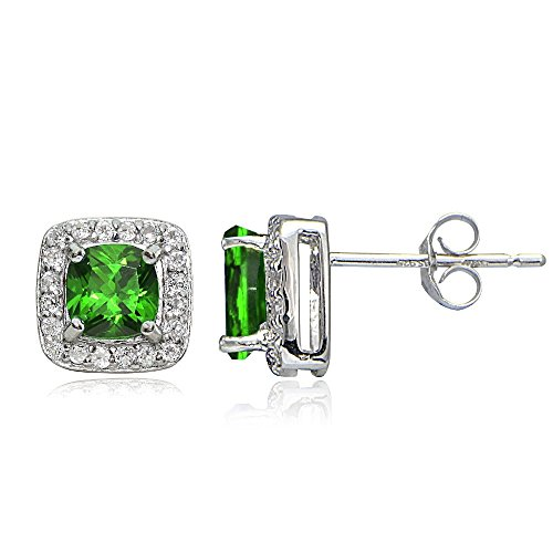 Sterling Birthstone Gemstone Cushion Cut Earrings product image