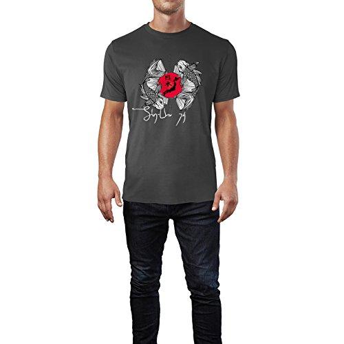 SINUS ART® Wunderschöne japanische Kois mit Sonne Herren T-Shirts in Smoke Fun Shirt mit tollen Aufdruck