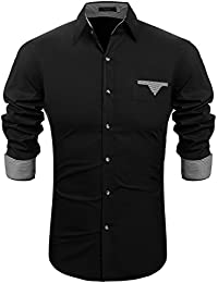 Men's Solid Regular Fit Casual Button Down Long Sleeve Oxford Dress Shirt