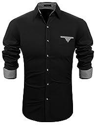 Hasuit Men's Classic Slim Fit Fashion Long Sleeve Dress Shirt Casual Shirts