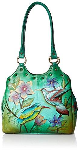 Anna by Anuschka Women's Genuine Leather Triple Compartment Medium Satchel | Zip-Top Organizer | Birds in Paradise Green