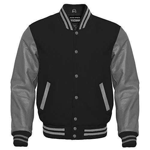 Premium Letterman Baseball School College Bomber Varsity Jacket Wool Blend & Genuine Leather Sleeves (Black/Gray, Small) (Men Team Varsity Jackets)