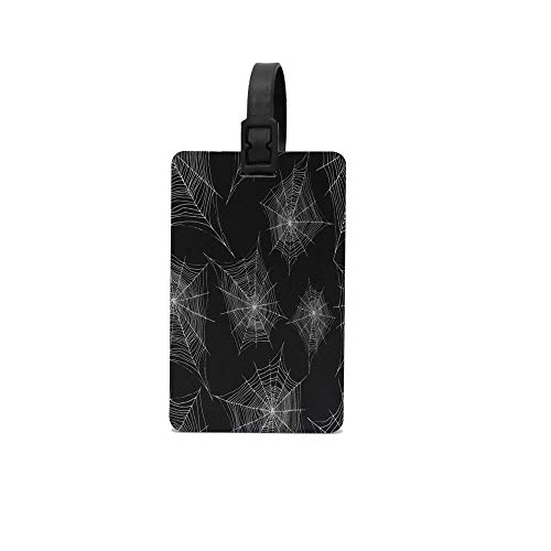 keyishangmaoLu Cobweb Silver Color Outline Halloween Spider Web Custom Luggage Tag for Baggage Suitcase Bag Baggage ID 2.2 X 3.7 Inch -