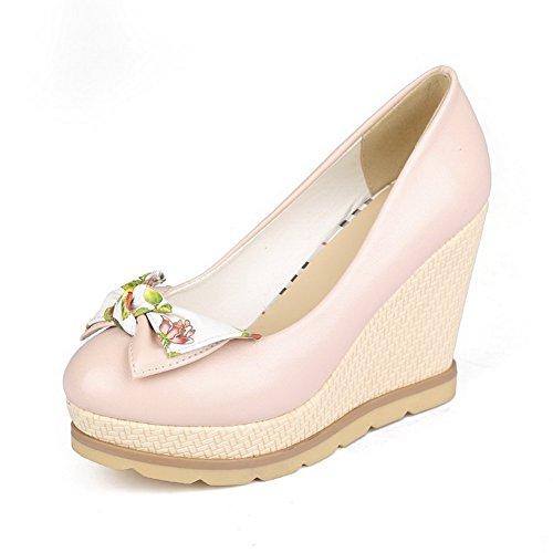 AllhqFashion Mujer Material Suave Slip-on PU Tacón Alto Puntera Redonda ZapatosdeTacón Rosa